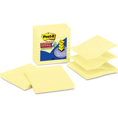 "Post-it® Pop-up Notes Super Sticky Pop-Up Refills R440YWSS, 4"" x 4"", Yellow, 90-Sheets, 5/Pack"