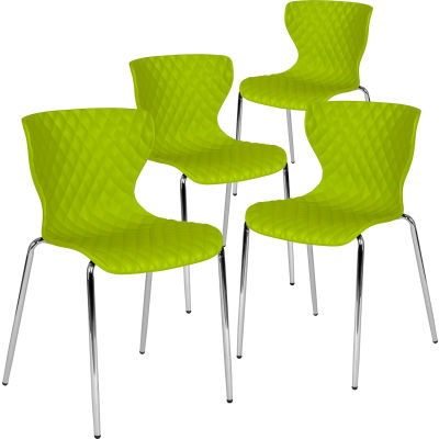 Flash Furniture Plastic Stack Chair - Lowell Contemporary Design - Citrus Green  - 4 per Pack