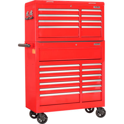 "Global Industrial™ 42-3/8"" x 18"" x 60-7/8"" 21 Drawer Red Roller Tool Cabinet & Chest Combo"