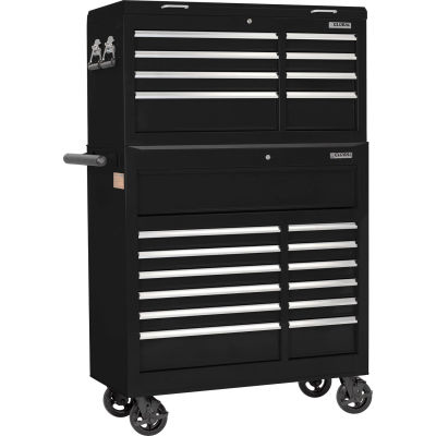 """Global Industrial™ 42-3/8"""" x 18"""" x 60-7/8"""" 21 Drawer Black Roller Tool Cabinet & Chest Combo"""