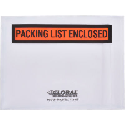 "Global Industrial™ Packing List Envelopes - ""Packing List Enclosed"" 4-1/2"" x 5-1/2"" - 1000/Case"