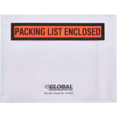 "Global Industrial™ Packing List Envelopes W/Print, 4-1/2""L x 5-1/2""W, Orange, 1000/Pack"