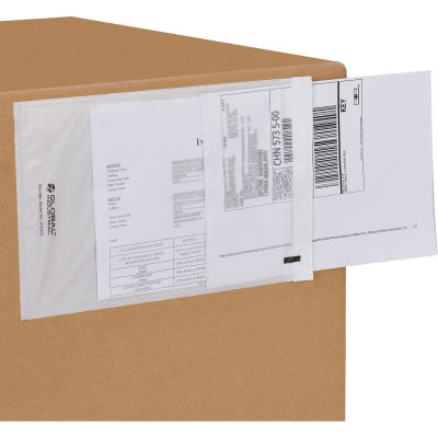 """Global Industrial™ Clear Shipping Envelopes 6-1/2"""" x 10"""" - 1000/Case"""