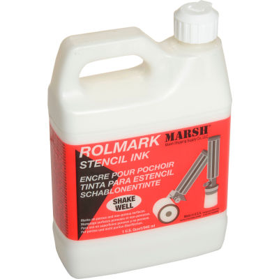 Marsh® 20923 Rolmark Stencil Ink, 1 Quart, White