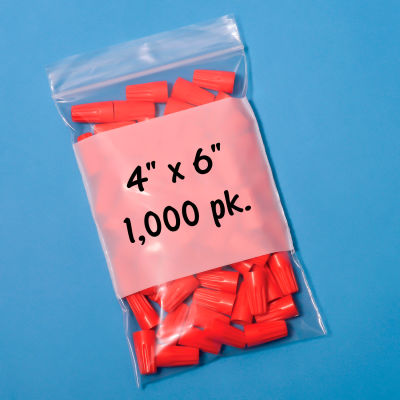 """Resealable Poly Bags With Write-On Label 4"""" x 6"""" 2 Mil 1,000 Pack"""