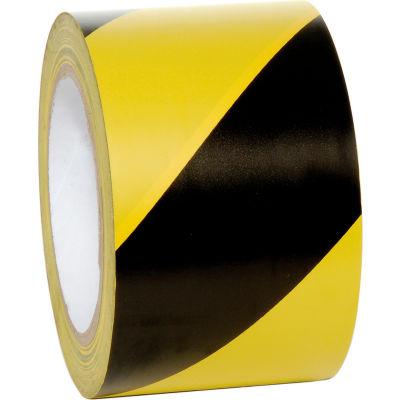 """INCOM® Striped Hazard Warning Tape, Yellow/Black, 3""""W x 108'L, 1 Roll"""