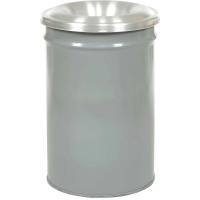 Justrite Cease-Fire® Steel Round Trash Can W/Funnel Lid, 55 Gallon, Gray