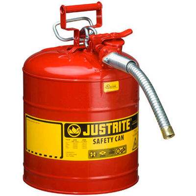 "Justrite® Type II AccuFlow™ Steel Safety Can - 5 Gallon, With 1"" Metal Hose, 7250130"