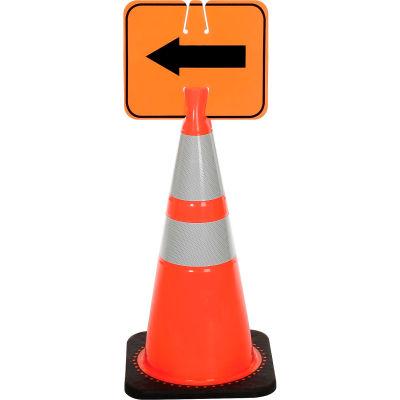 Cone Sign - Reversible Arrow - Black on Orange