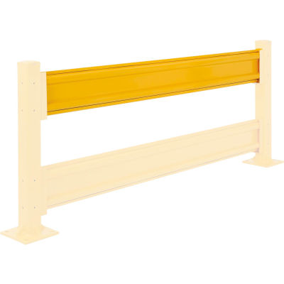 Global Industrial™ Protective Steel Rail Barrier, 8'L, Yellow