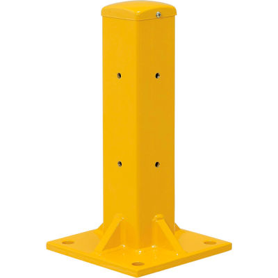 """Global Industrial™ Protective Steel Barrier Post For Single Rail, 18""""H , Yellow"""