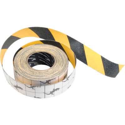 "Anti-Slip Traction Yellow/Black Hazard Striped Tape Roll, 4"" x 60 Feet"