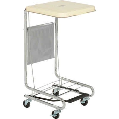 Global Industrial™ Chrome Hamper Stand With Foot Pedal & Poly Coated Steel Lid