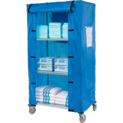"Nexel® Galvanized Steel Linen Cart with Nylon Cover, 4 Shelves, 36""L x 24""W x 80""H"