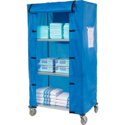 "Nexel® Galvanized Steel Linen Cart with Nylon Cover, 4 Shelves, 36""L x 24""W x 69""H"