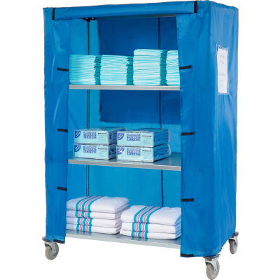 "Nexel® Galvanized Steel Linen Cart with Nylon Cover, 4 Shelves, 48""L x 18""W x 69""H"