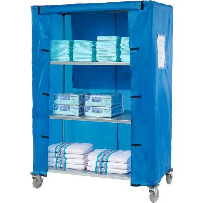 "Nexel® Galvanized Steel Linen Cart with Nylon Cover, 4 Shelves, 48""L x 24""W x 80""H"