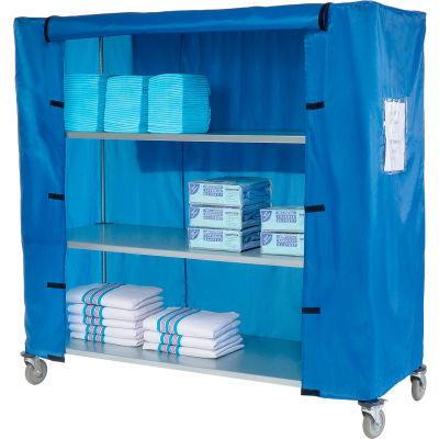 "Nexel® Galvanized Steel Linen Cart with Nylon Cover, 4 Shelves, 72""L x 24""W x 80""H"