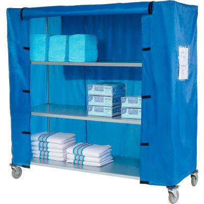 "Nexel® Galvanized Steel Linen Cart with Nylon Cover, 4 Shelves, 60""L x 18""W x 69""H"
