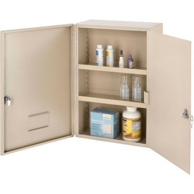 """Global Industrial™ Medium Narcotics Cabinet, Double Door/Double Lock, 16""""W x 8""""D x 24""""H, Beige"""