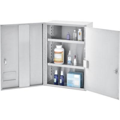 Global Industrial™ Medium Stainless Steel Narcotics Cabinet With Double Door/Double Lock
