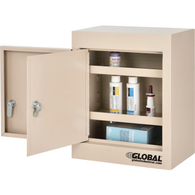 "Global Industrial™ Small Narcotics Cabinet, Double Door/Double Lock, 12""W x 8""D x 15""H, Beige"