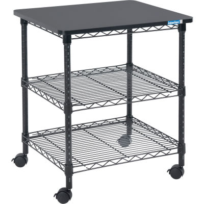 "Interion® Deskside Wire Machine Stand, 24""W x 20""D x 27""H, Black"