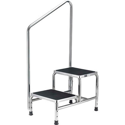 Global Industrial™ Chrome Two-Step Foot Stool With Handrail