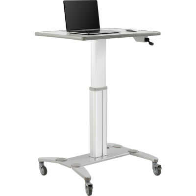 Global Industrial™ Sit-Stand Mobile Desk With Tablet Slot, Gray/Silver