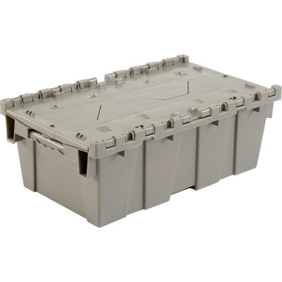 Global Industrial™ Plastic Attached Lid Shipping and Storage Container 19-5/8x11-7/8x7 Gray