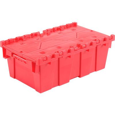 Global Industrial™ Plastic Attached Lid Shipping and Storage Container 19-5/8x11-7/8x7 Red