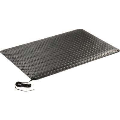 "Wearwell® Electrically Conductive Diamond-Plate Mat 9/16"" Thick 2' x 3' Black"