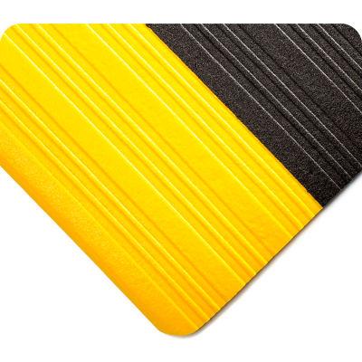 Wearwell® Deluxe Tuf Sponge Anti Fatigue Mat 5/8' Thick 3' x 60' Black/Yellow Border