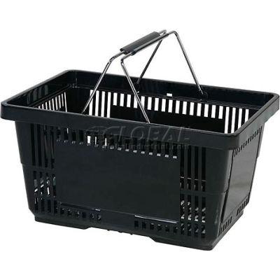VersaCart ® Black Plastic Shopping Basket 28 Liter With Black Plastic Grips Wire Handle - Pkg Qty 12