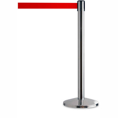 "Tensator Safety Crowd Control Queue Post, Polished Chrome With 7'6"" Red Belt - Pkg Qty 2"