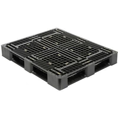 Rackable Plastic Pallet Black HDPE 48x40 Fork Capacity 4000 Lbs