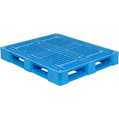 "Monoflo Rackable Plastic FDA & USDA Approved Pallet, Blue, 48"" x 40"", 4000 Lb. Capacity"