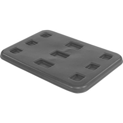 "Dandux Black Recycled Plastic Pallet Container Lid 51080716X-L - 42""L x 29""W"