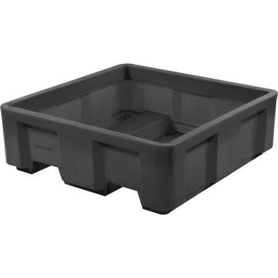 "Dandux Black Recycled Plastic Skid Container 512165X Single Wall  - 36""L x 20""W x17-1/2""H"