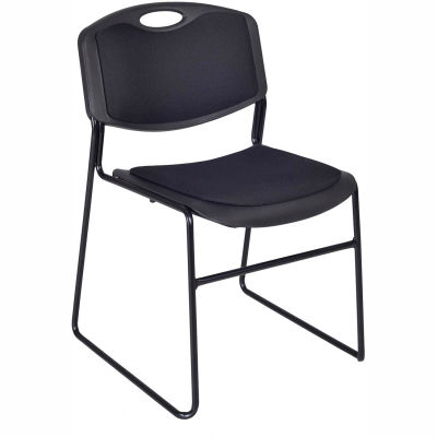 Regency Plastic Stack Chair with Padded Seat and Back - 400 lb. Capacity - Black - Pkg Qty 4