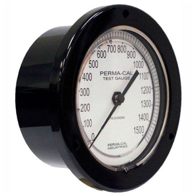 "Perma-Cal 101FTM27A01, 4.5"" Dial, 0-30 psi, 1/4"" NPT, Rear Mount, SS Connection, BLK Front Flange"
