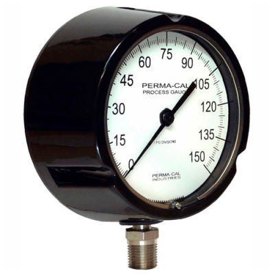 """Perma-Cal 111TIB09A23, 4.5"""" Dial, 0-600 psi, 1/2"""" NPT, Bottom Mount, SS Connection, BLK Turret"""