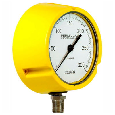 """Perma-Cal 121TID27H23L,4.5"""" Dial,0-30 psi,1/2"""" NPT,Bottom Mount,SS Connection,High Temp YLW Turret"""