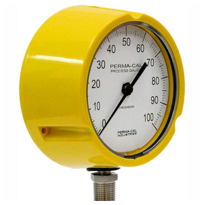 """Perma-Cal 121TID13Y23, 4.5"""" Dial, 0-2,000 psi, 1/2"""" NPT, Bottom Mount, SS Connection, YLW Turret"""