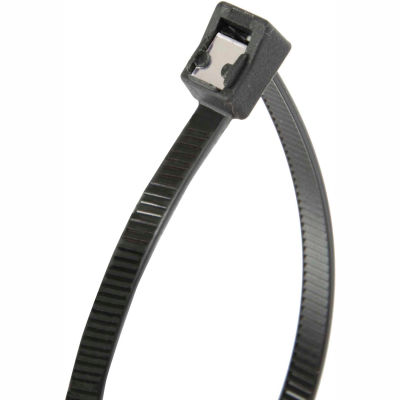 "Gardner Bender 46-314UVBSC 14"" Self-Cutting Cable Ties, Black, 50lb, 50/pk, 4"" Max Dia, Twist Tail"