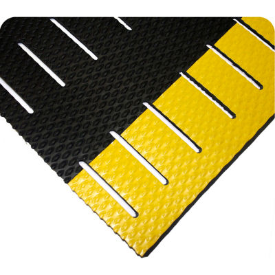 "Wearwell® Kushion Walk Slotted Anti Fatigue Runner 3/8"" Thick 3' x 5' Black/Yellow Border"