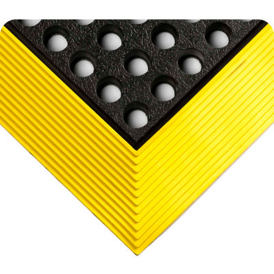 """Wearwell® Industrial WorkSafe® GR Drainage Mat 5/8"""" Thick 3' x 5' Black/Yellow Border"""