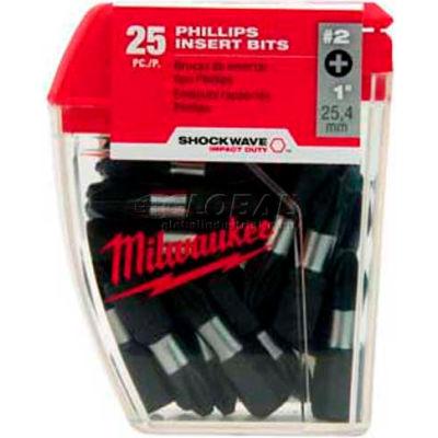 "Milwaukee® 48-32-4604 SHOCKWAVE™ #2 Phillips Insert Bit 1"" Contractor Pack (25 Pack)"