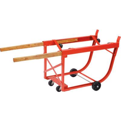 Global Industrial™ Heavy Duty Rotating Drum Cradle with Wood Handles & Polyolefin Wheels