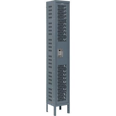 Infinity® Heavy Duty Ventilated Steel Locker, Single Tier, 1-Wide, 12x12x72, Unassembled, Gray